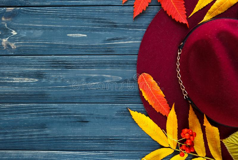 Burgundy  or marsala color hat on a gray wooden background with autumn yellow, red leaves and berries. Flat lay, copyspace stock photo