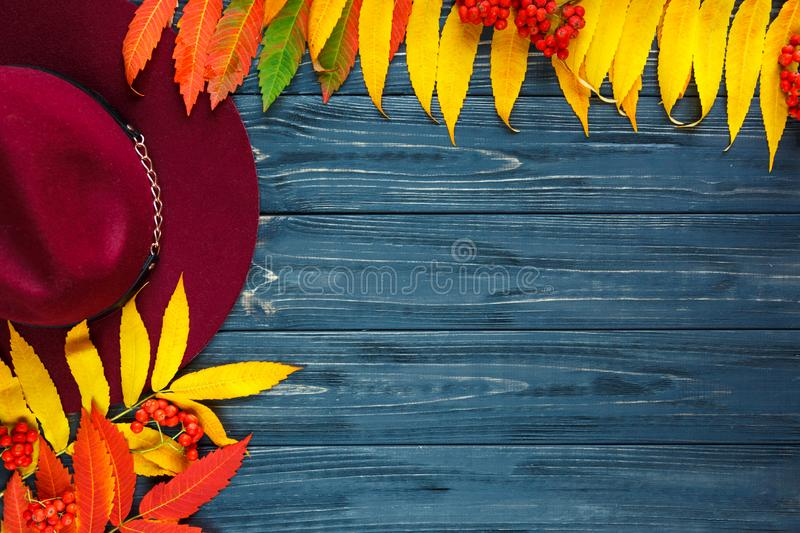 Burgundy  or marsala color hat on a gray wooden background with autumn yellow, red leaves and berries. Flat lay. Copyspace royalty free stock photos