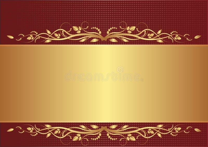 Download Burgundy och guldbakgrund vektor illustrationer. Bild av horisontal - 26647995