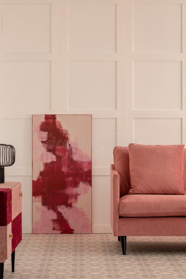Burgundy and pastel pink abstract painting royalty free stock image