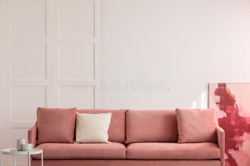 Burgundy and pastel pink abstract painting stock photography