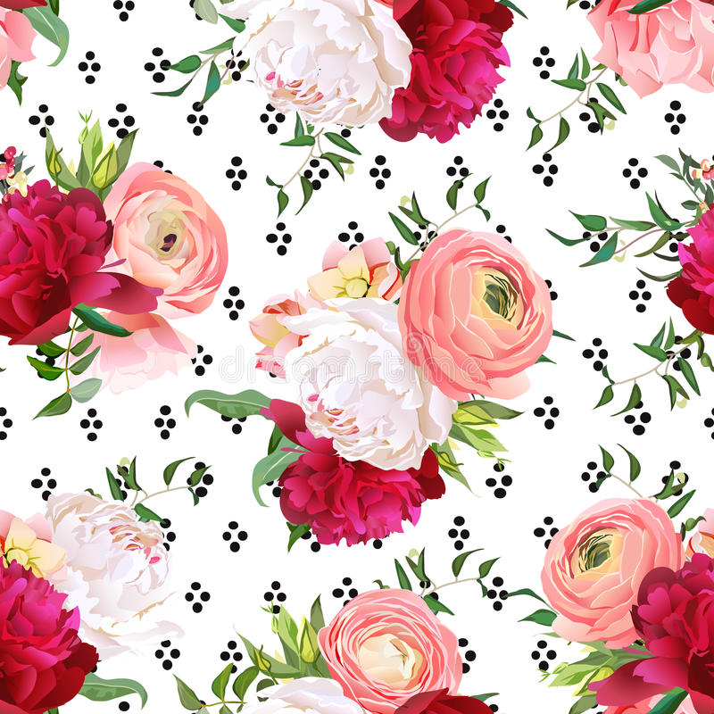 Free Burgundy Red And White Peonies, Ranunculus, Rose Seamless Vector Stock Photo - 92016460
