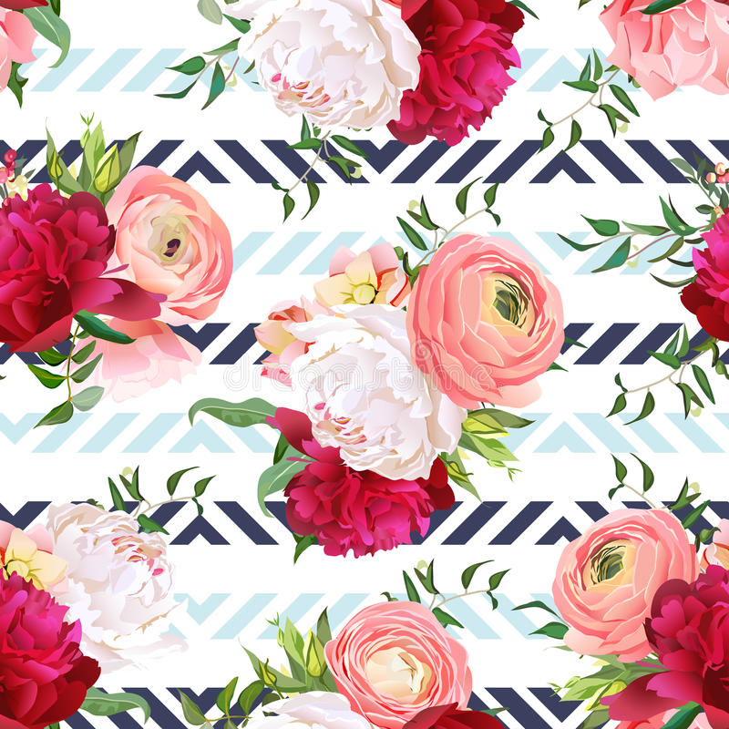 Burgundy red and white peonies, ranunculus, rose seamless vector pattern vector illustration