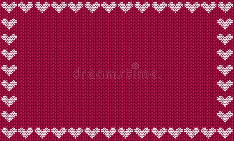 Burgundy tkanina dziający tło obramiający z dzianina bielu sercami ilustracja wektor