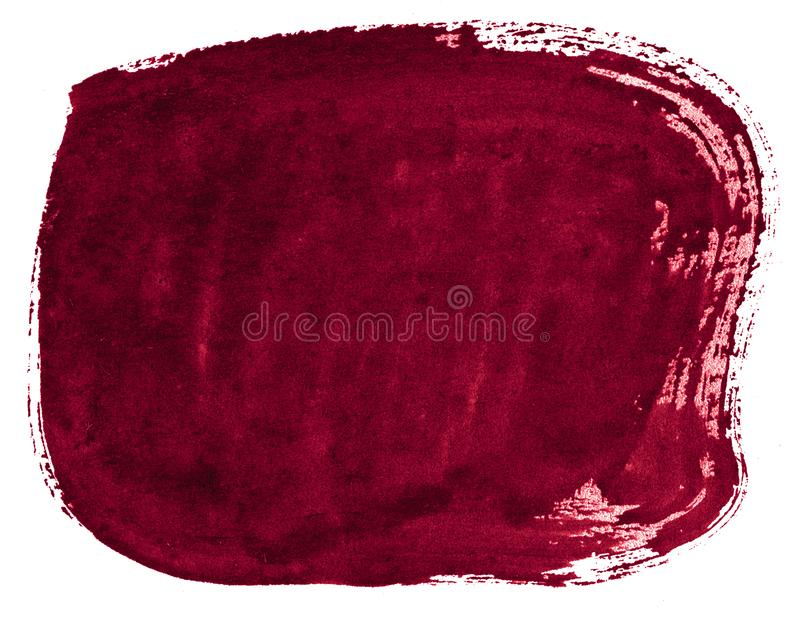 Burgundy Watercolor background with sharp borders and divorces. Watercolor rough brush stains. Burgundy Watercolor background  with sharp borders and divorces stock image