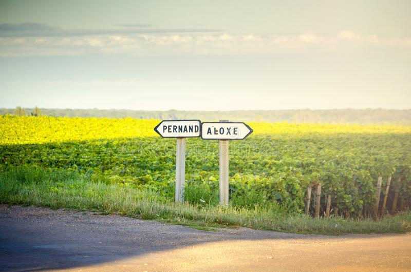 Burgundy. Wine French country road signs leading to the top burgundy vineyards. France. Burgundy, a panoramic road that crosses the wine region and makes us know royalty free stock images