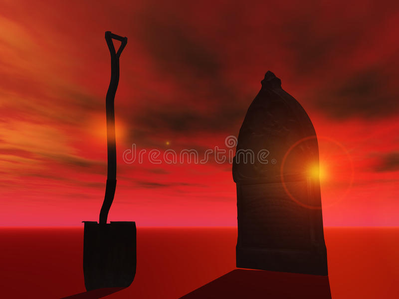 Burial abstract with spade and coffin
