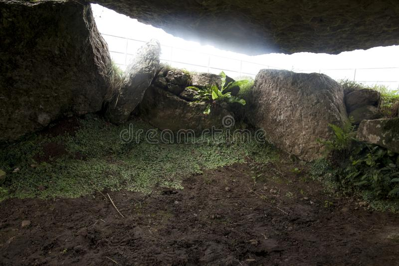 Lligwy burial chamber | The cockroach monument. This burial chamber located on the island of Anglesey in North Wales, is a certainly atypical chamber, since no royalty free stock image