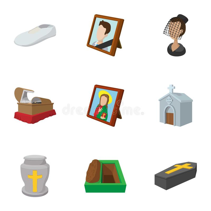 Burial icons set, cartoon style stock illustration