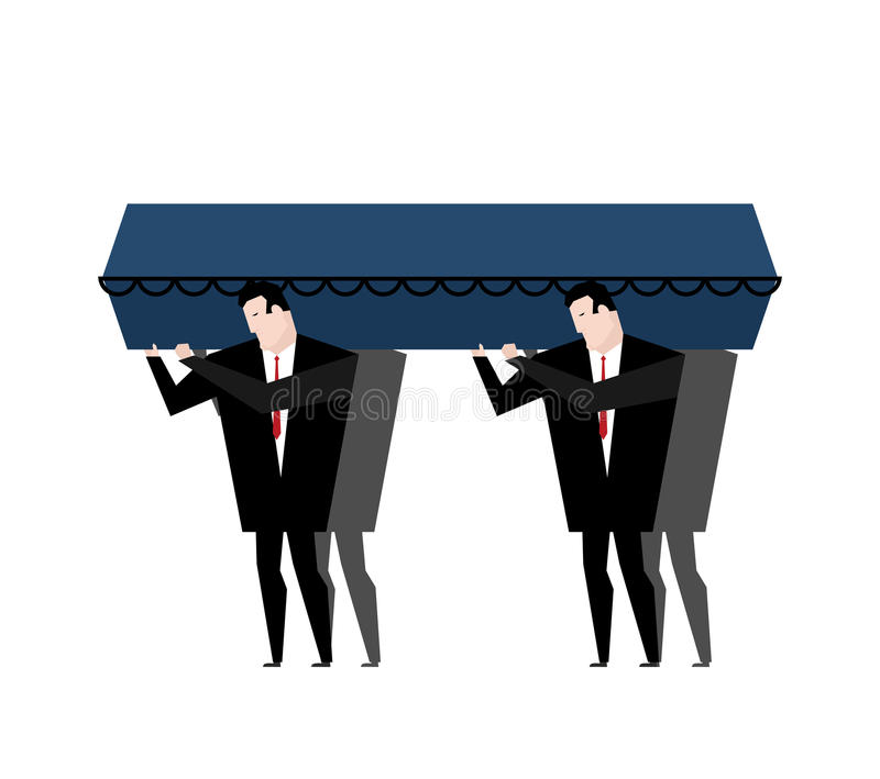 Burial. Men carry coffin on his last journey. Blue wooden coffin vector illustration