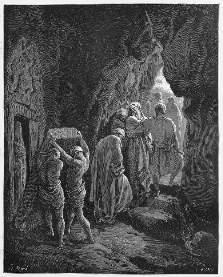 Burial of Sarah. Picture from The Holy Scriptures, Old and New Testaments books collection published in 1885, Stuttgart-Germany. Drawings by Gustave Dore