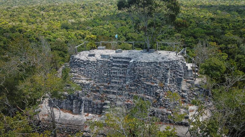 Archaeological Site: El Mirador, the cradle of Mayan civilization and the oldest mayan city in history. Buried within the furthest reaches of the Petén jungle stock image