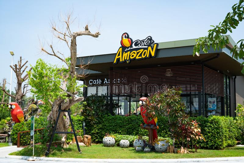 Buriram, Thailand - Oct, 2018: Cafe Amazon coffee shop with blue sky background. Cafe`Amazon has been in the coffee business sinc royalty free stock photo