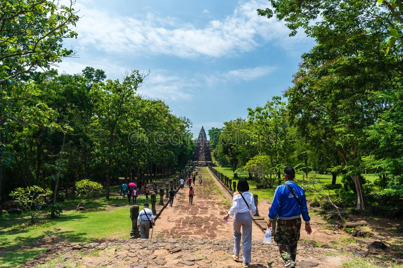 Unidentified people visit Prasat Khao Phanom Rung Historical park in Buriram, Thailand royalty free stock image