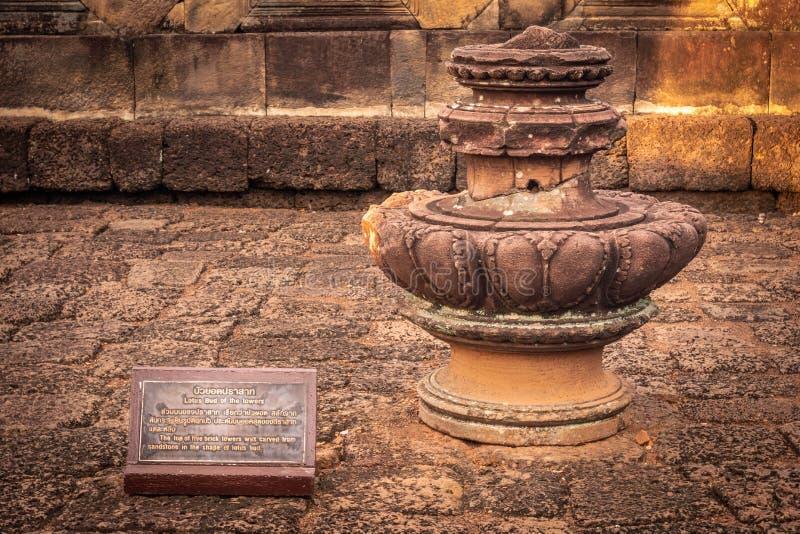 BURIRUM,THAILAND - DECEMBER 07, 2018: Closeup Stone at Prasart Hin Muengtum. BURIRUM,THAILAND - DECEMBER 07, 2018: PRASART HIN Muengtum or THE STONE CASTLE MUANG royalty free stock image