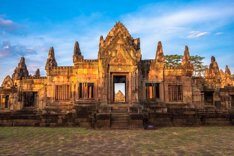 BURIRUM,THAILAND - DECEMBER 07, 2018: PRASARTHIN MUANGTAM or THE STONE CASTLE MUANG TAM at Prakhonchai District. BURIRUM,THAILAND - DECEMBER 07, 2018: PRASART stock photos