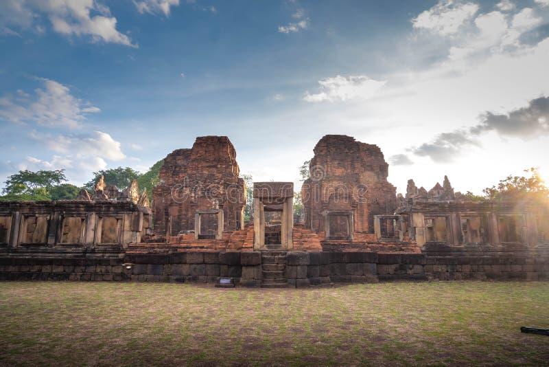 BURIRUM,THAILAND - DECEMBER 07, 2018: PRASARTHIN MUANGTAM or THE STONE CASTLE MUANG TAM at Prakhonchai District. BURIRUM,THAILAND - DECEMBER 07, 2018: PRASART stock photo