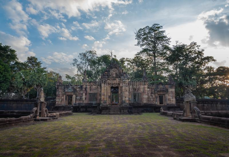 BURIRUM,THAILAND - DECEMBER 07, 2018: PRASARTHIN MUANGTAM or THE STONE CASTLE MUANG TAM at Prakhonchai District. BURIRUM,THAILAND - DECEMBER 07, 2018: PRASART royalty free stock photos