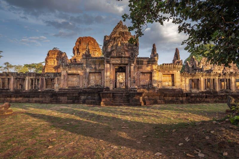 BURIRUM,THAILAND - DECEMBER 07, 2018: PRASARTHIN MUANGTAM or THE STONE CASTLE MUANG TAM at Prakhonchai District. BURIRUM,THAILAND - DECEMBER 07, 2018: PRASART royalty free stock photo