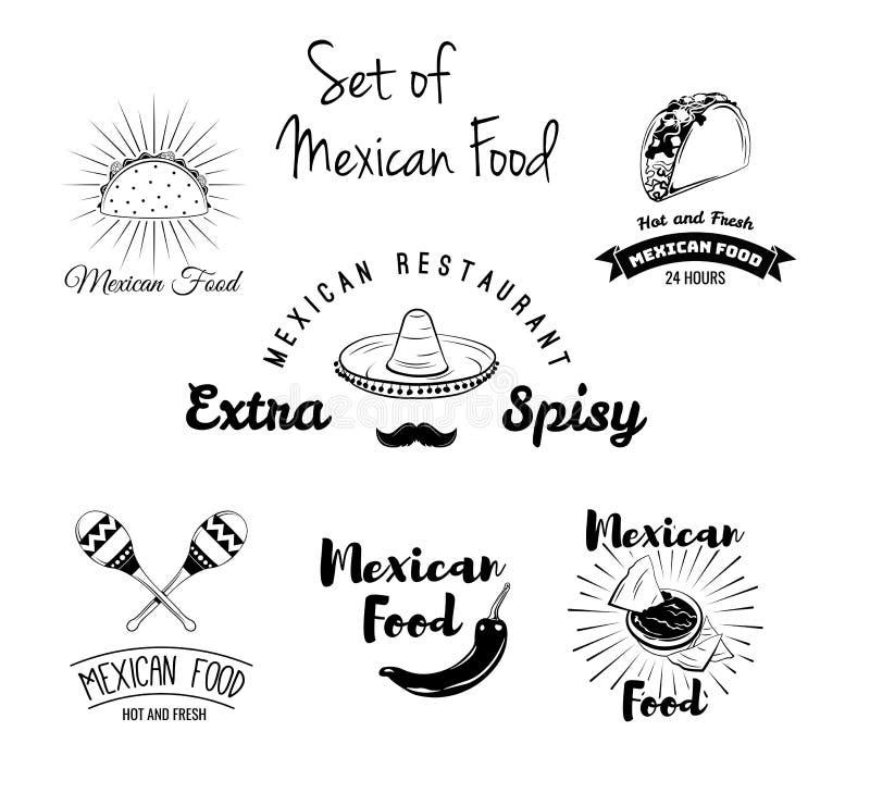 Burito nachos, taco, maracas, sombrero, mustasch, peppar Mexicansk matuppsättning vektor stock illustrationer