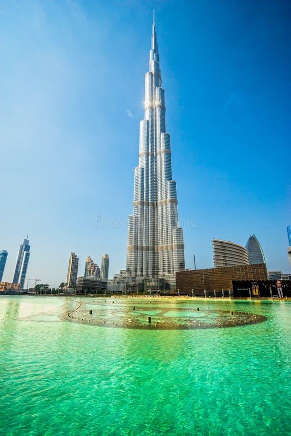 Burj哈利法门面,迪拜,阿拉伯联合酋长国 免版税库存图片