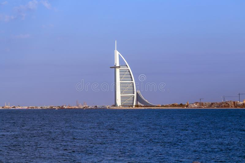 Burj Al阿拉伯人是在人为isl建造的豪华五星旅馆 图库摄影