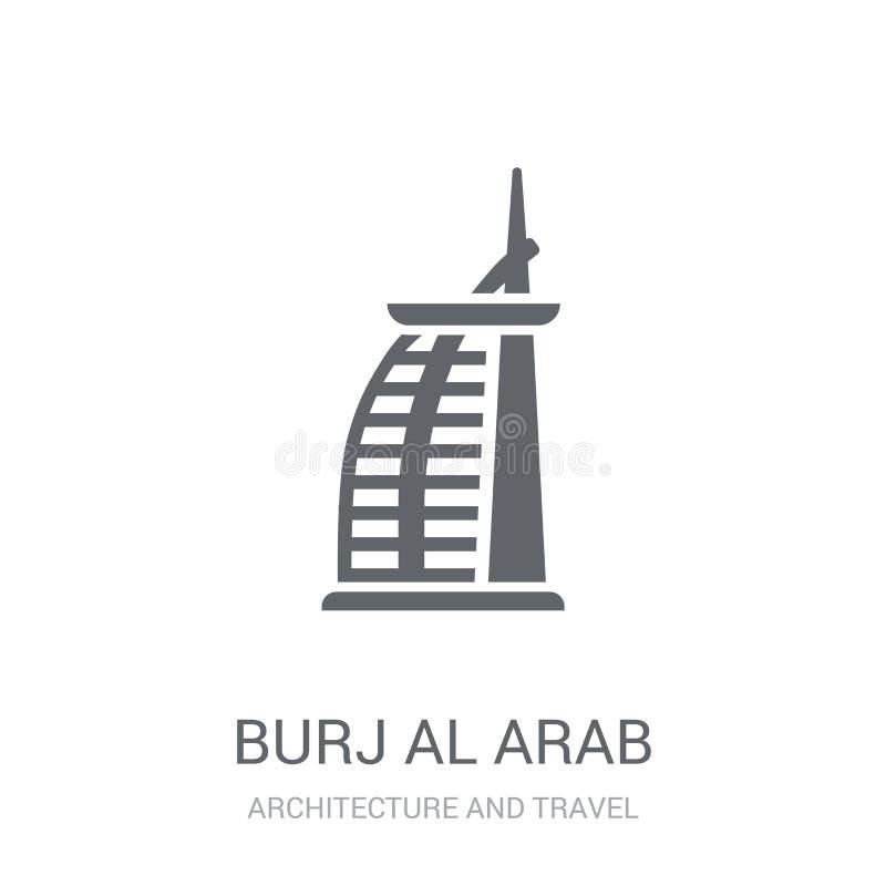 Burj Al阿拉伯象 时髦在白色bac的Burj Al阿拉伯商标概念 皇族释放例证