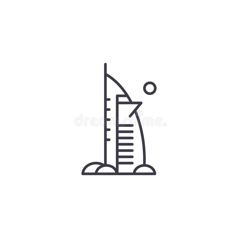 Burj Al αραβική έννοια εικονιδίων ξενοδοχείων γραμμική Burj διανυσματικό σημάδι γραμμών ξενοδοχείων Al αραβικό, σύμβολο, απεικόνι απεικόνιση αποθεμάτων
