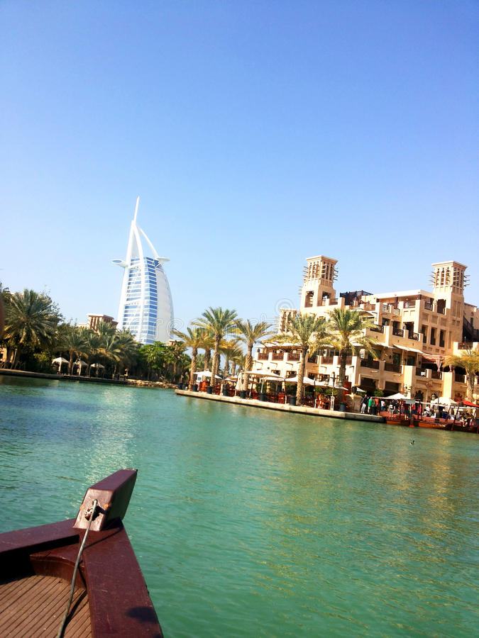 The Burj al-Arab. Arabic: برج العرب, Tower of the Arabs is a luxury hotel located in Dubai, United Arab Emirates. It is stock photo