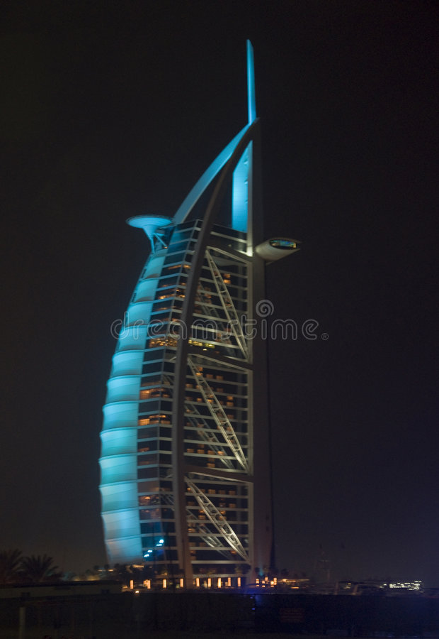 Burj Al Arab in Blue Light royalty free stock photos
