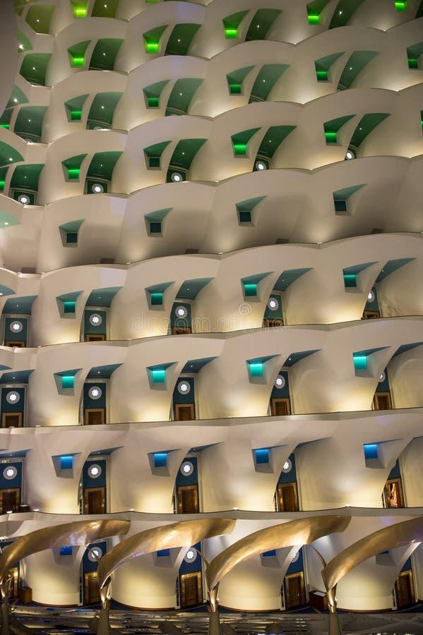 Burj Al Arab, inside famous Hotel Burj Al Arab, Dubai, at night royalty free stock image