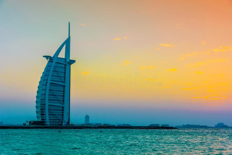 Burj Al Arab, een luxehotel in Doubai, de V.A.E stock foto's