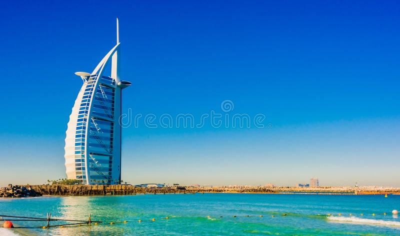 Burj Al Arab, een luxehotel in Doubai, de V.A.E stock afbeeldingen