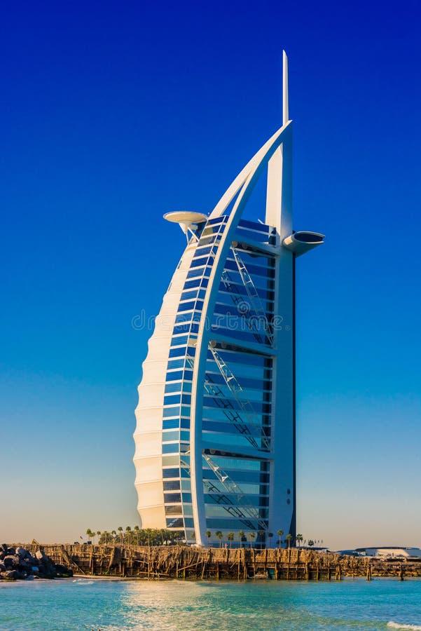 Burj Al Arab, een luxehotel in Doubai, de V.A.E royalty-vrije stock afbeeldingen