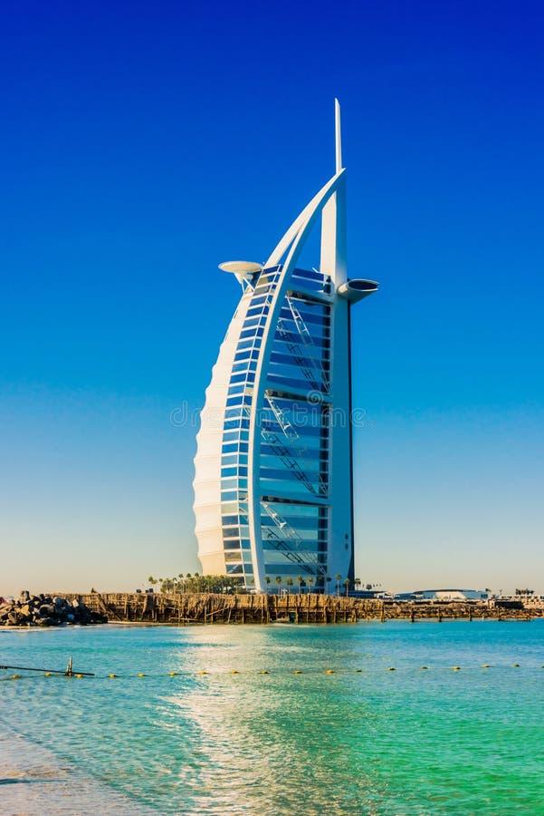 Burj Al Arab, een luxehotel in Doubai, de V.A.E stock fotografie