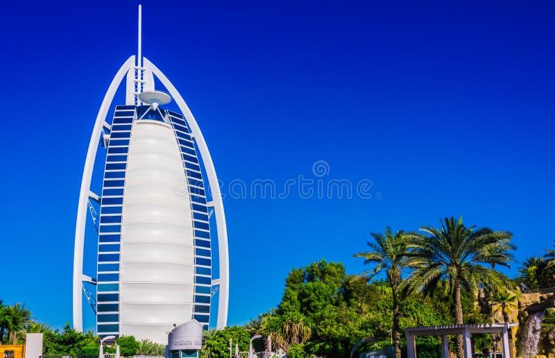 Burj Al Arab, een luxehotel in Doubai, de V.A.E stock afbeelding