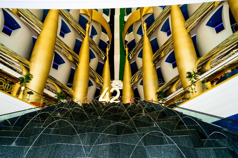 Burj al-Arab Hotel,reception desk and hall in Dubai, UAE. vector illustration