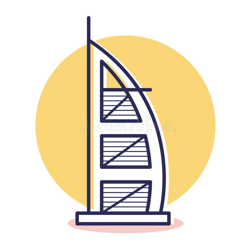 Burj Al Arab Icon - lopp och destination vektor illustrationer