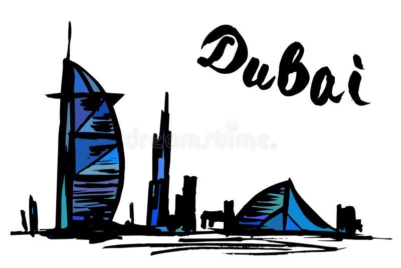 Burj Al Arab Jumeirah en Jumeirah-Strandhotel - Doubai stock illustratie