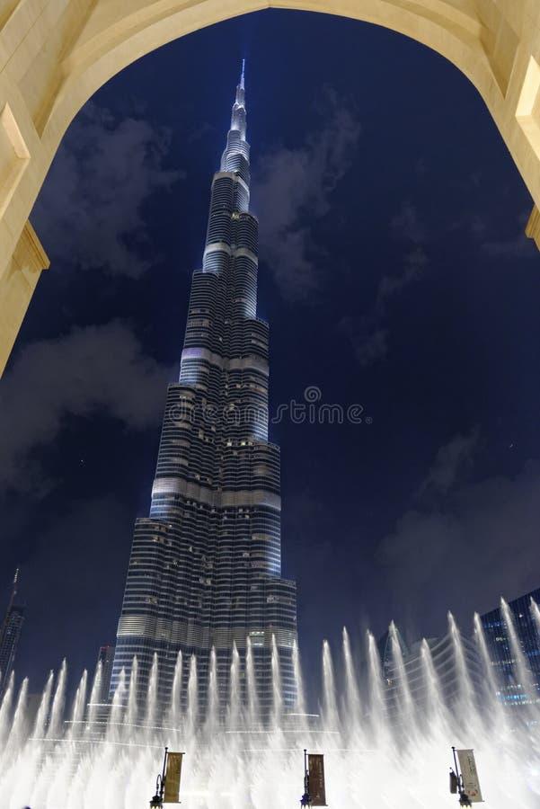 Download Burj Al Khalifa And Fountains Stock Photo - Image of dubai, framed: 39119994