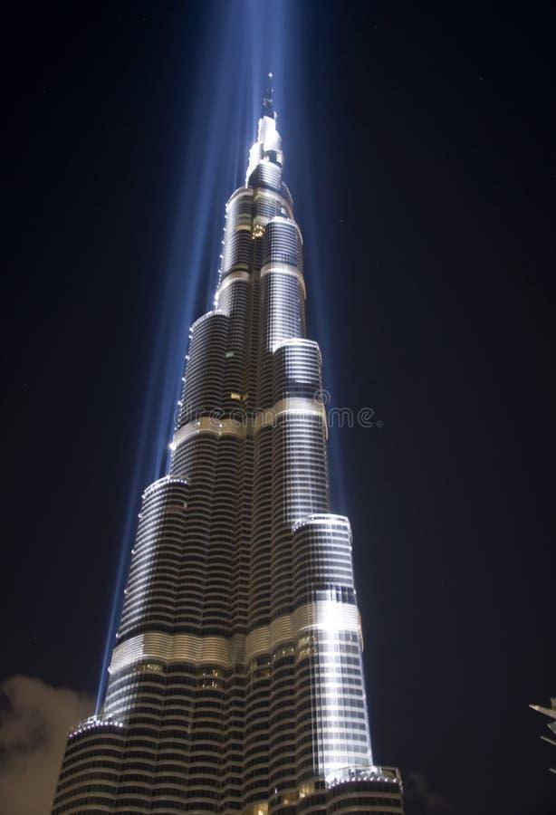 Burj Dubai in laser light stock photography