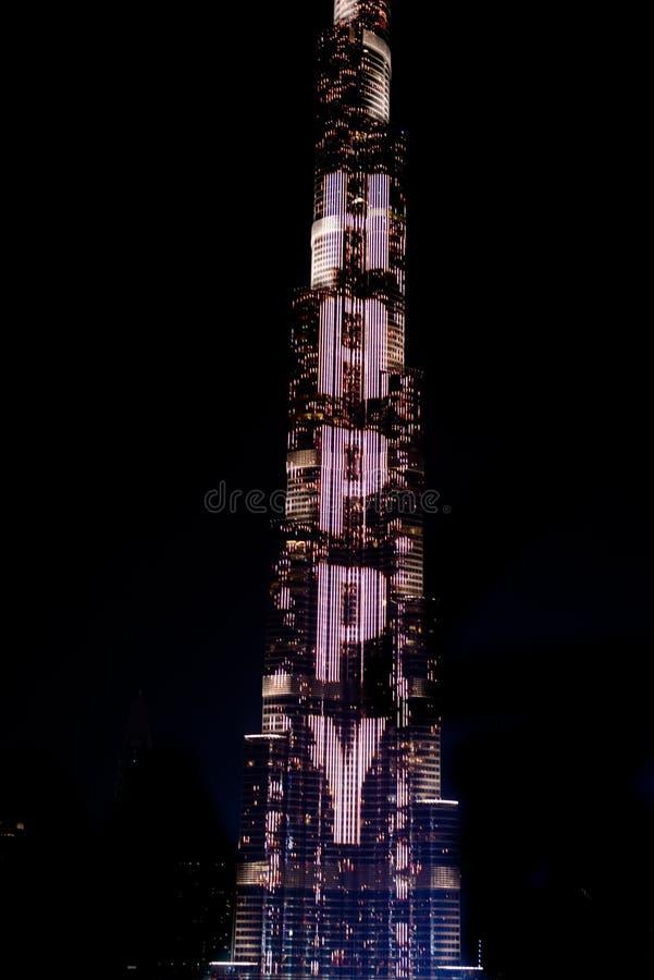 Burj Khalifa with colorful LED show Happy New Year Dubai, UAE stock image