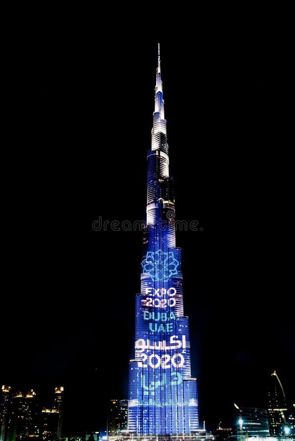 Burj Khalifa illuminated Expo Dubai 2020, Dubai, UAE stock image