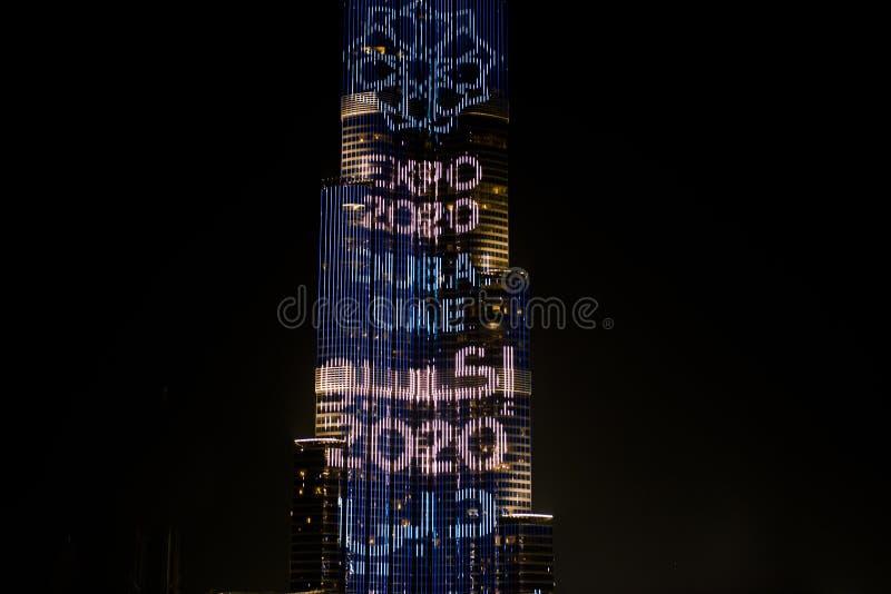 Burj Khalifa illuminated Expo Dubai 2020 stock image