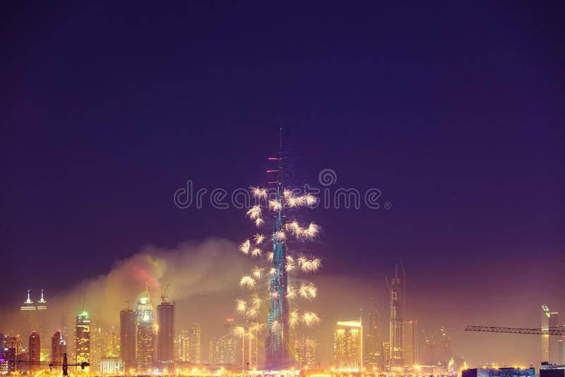 Burj Khalifa New Year 2016 feux d'artifice image libre de droits