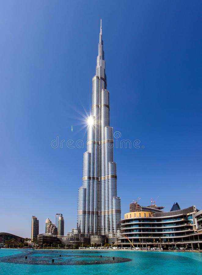 Burj Khalifa skyscraper and pool, Dubai stock images