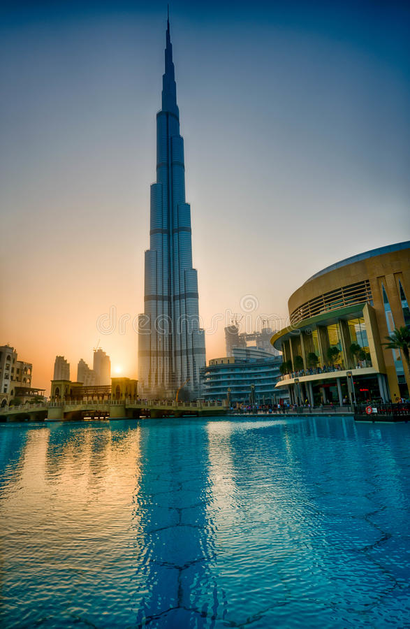 Burj-Khalifa in sunset stock images