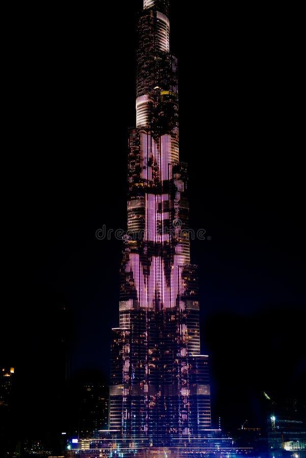 Burj Khalifa with colorful LED show Happy New Year Dubai, UAE royalty free stock photo