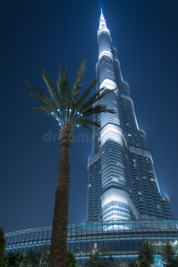 The Burj Khalifa. The tallest building in the world.Photo taken at night royalty free stock image