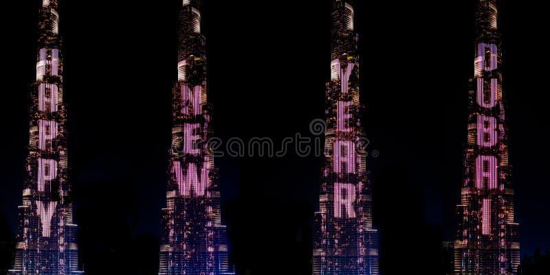 Happy new Year Dubai. Burj Khalifa illuminated, Dubai, UAE stock photos